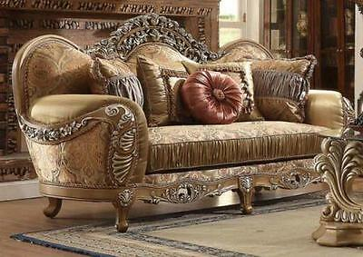 Homey Design HD-622 Luxury Upholstery Antique Brown Traditional Loveseat