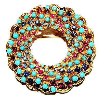 Vintage Classic Gold Tone  With Multi Color Crystal  Pin Brooch~Signed:sarah Cov