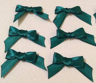 20 Cute Peacock Green 10mm Ribbon bows �� for card making/scrap booking -charity