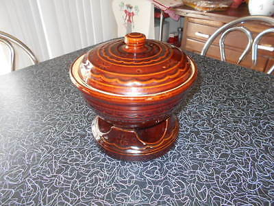 Marcrest Stoneware Covered Casserole Dish with Candle Warmer 48 oz. Daisy Dot