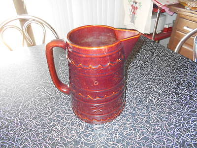 """Vtg Marcrest Daisy Dot Oven Proof Stoneware Large 8"""" Pitcher - Brown –"""