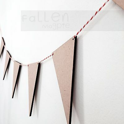 Wooden Party Bunting Triangles Flags Wedding Craft Blanks MDF Wood Shapes