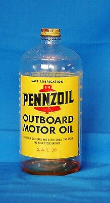 Vintage Penzoil Outboard Motor Oil Glass Jar - 1 Quart