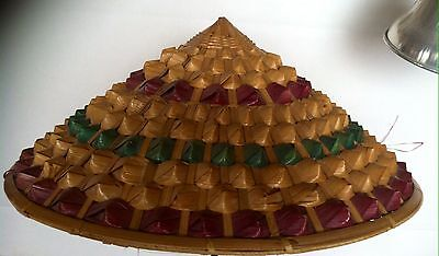Vintage Bamboo Conical Hat / Asian Rice Paddy Coolie Hat /