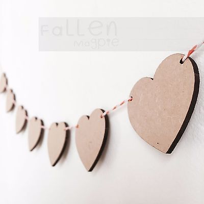 Wooden Party Bunting Hearts Flags Wedding Craft Blanks MDF Wood Shapes