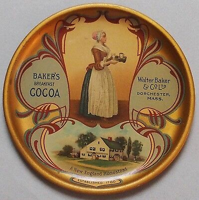 Beautiful Large Early Bakers Cocoa Advertising Tip Tray Dated 1913 Near Mint Nos