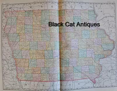"Original 1898 Map Of Iowa 25.25"" X  18.25"" Rand McNally Large Color Map"