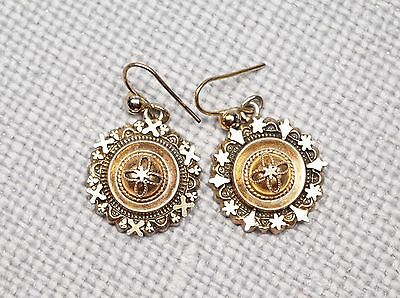 Antique English Victorian Vermeil Sterling Dainty Earrings Hallmarked