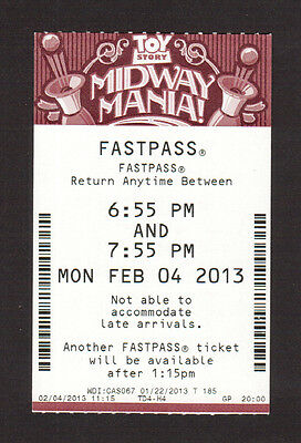 Toy Story Midway Mania Hollywood Studios Disney Fastpass Collector Card Expired