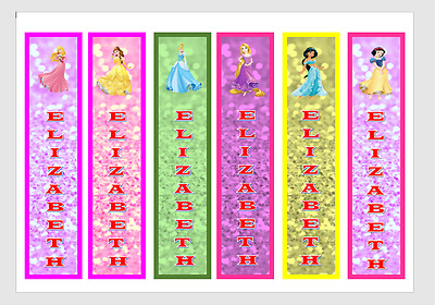 Personalised Disney Princess Childrens Bookmarks Laminated X 6