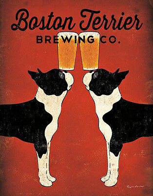 BOSTON TERRIER BREWING Co.DOG PRINT RETRO ADVERTISING ART POSTER - Beer - Larger