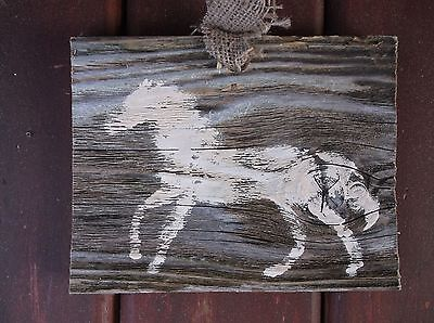 Horse weathered Sign old barn farmhouse primitive artist original signed wood