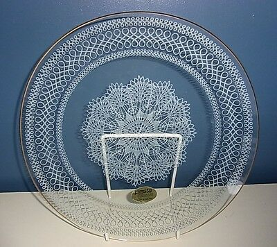 """CHANCE FIESTA GLASS SMOOTH GILDED RIM """"WHITE LACE"""" PLATE - 9.75"""" Diam 1950's VGC"""