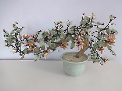 """20"""" Vintage Chinese BONSAI TREE Jade Glass Flowers Potted - Feng Shui Beautiful!"""