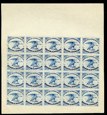 Weeda USA 5L1 Local American Letter Mail Co Complete Reprint proof sheet in blue