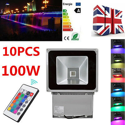 10x 100W LED Floodlight RGB Color Change Outdoor Garden Security Light