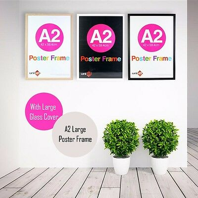 A2 Large Wooden Poster Picture Photo Certificate White Black Natural Frame