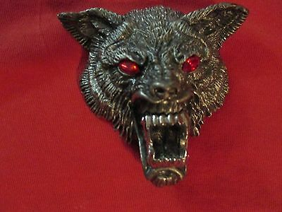 Sinister Wolf Head Belt Buckle Red Ruby Crystal Eyes Pewter Unmarked Alchemy?