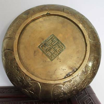 Antique Chinese Dragons Phoenix Cherry Blossom Bowl Ancient Brass Bronze Signed