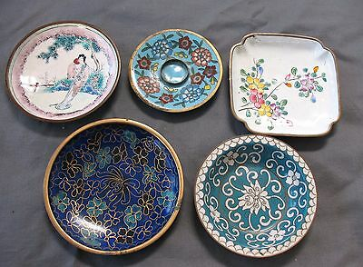 5 Vintage CHINESE CLOISONNE Enamel PIN DISHES Floral Designs