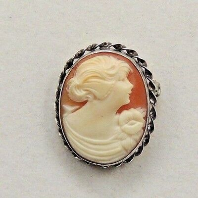 Antique Sterling Shell Cameo Brooch Pendant