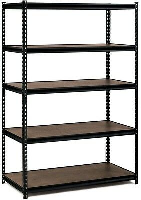 "5 Shelf Shelving Unit 48"" x 72"" x 24"" Storage Edsal Black Steel Heavy Duty"