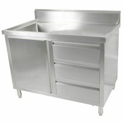 Kitchen Cabinet w Sink, Single Left Bowl, Stainless Steel, 1200x700x900mm