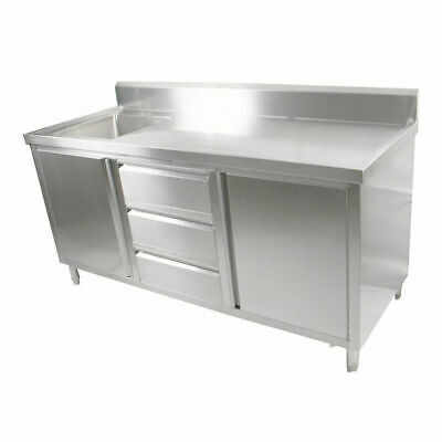 Kitchen Cabinet w Sink, Single Left Bowl, Stainless Steel, 1800x700x900mm