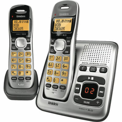 Cordless Telephone 2x Handsets Home Office Intercom Phone w/ Answering Machine