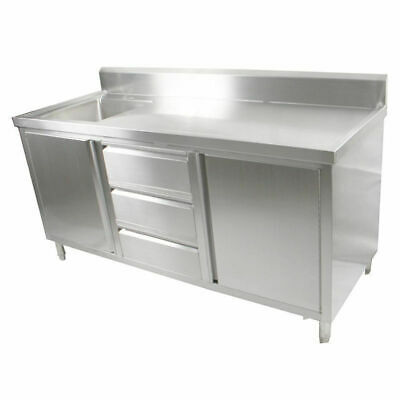 Kitchen Cabinet w Sink, Single Left Bowl, Stainless Steel, 2100x700x900mm