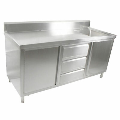 Kitchen Cabinet w Sink, Single Right Bowl, Stainless Steel, 2100x700x900mm