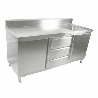 Kitchen Cabinet w Sink, Single Right Bowl, Stainless Steel, 1800x700x900mm