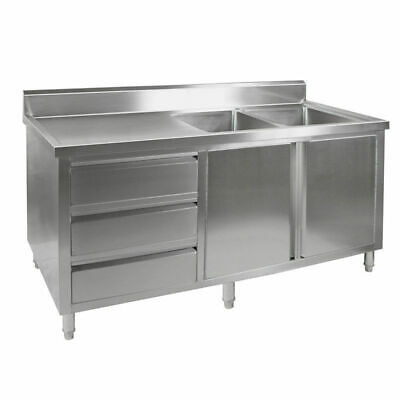 Kitchen Cabinet w Sink, Double Right Bowl, Stainless Steel, 2100x700x900mm