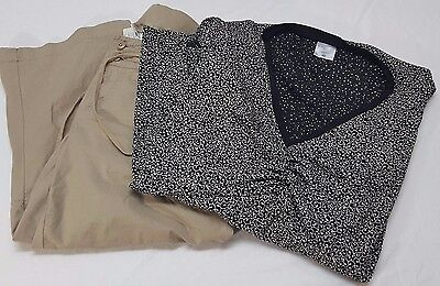 LOT of 2 Motherhood Maternity crop pants size L with shirt size 1x Tan and Black