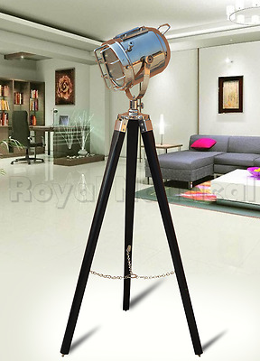 Antique Vintage Finish Nautical Tripod Floor Lamp Spotlight Wooden Searchlight