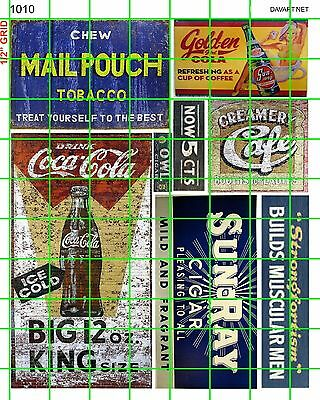 1010 Dave's Decals Soda Pop Sun-Ray Mail Pouch Cafe Building Signs Advertising