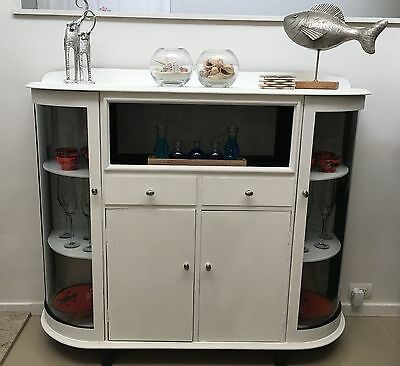 Art Deco China Display Cabinet with Curved Glass