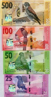 Seychelles Set 4 Unc 25 50 100 500 Rupees Nd 2016 P New Family Design
