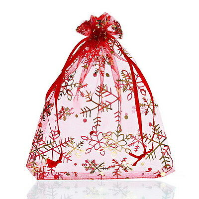 Wholesale lots 12x16 Red Snowflake Organza Gift Bags Pouches Wedding/Xmas Gift