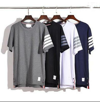 2017 Men's THOM Cotton Browne Striped Cotton Round neck short sleeve Tee-Shirts