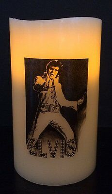 ELVIS PRESLEY ELECTRONIC FLAMELESS FLICKERING CANDLE b/w