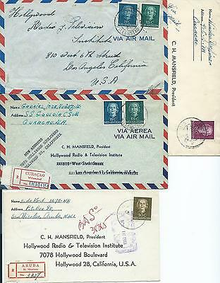 CURACAO: Lot 4 airmail and registered covers to USA 1950-53.. Arr.canc.