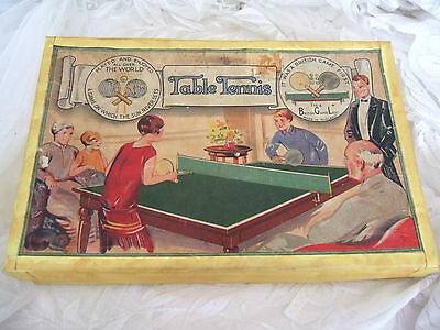 Rare Vintage 1930's Art Deco Table Tennis Boxed Set By British Game Last