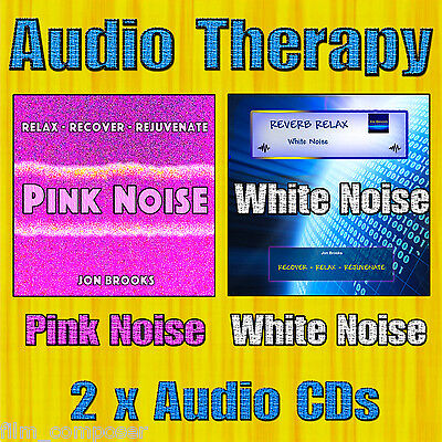 AUDIO THERAPY - White Noise and Pink Noise Audio CDs (2 CDs) for Stress & Sleep