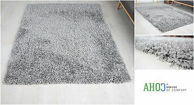 Grey X Large Luxury Shaggy Area Rug Soft Carpet 5cm Thick Pile Rugs Modern Mat