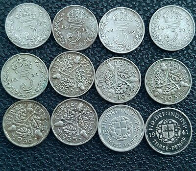 Lot / Collection of 12 George V VI Silver Threepence Coins