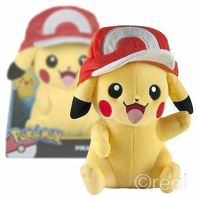 "New Pokemon Pikachu With Ash's Hat 10"" Large Plush Soft Official Licensed"
