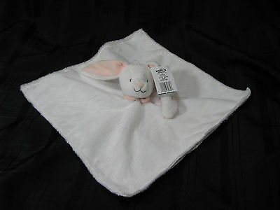 Carters White Pink Gray Bunny Rabbit Security Blanket Lovey Rattle Satin New Nwt