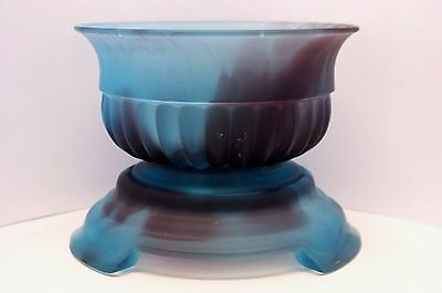 Rare Davidson Art Deco Matt Blue Cloud Glass Bowl,Stand & Frog - Pattern #1910M