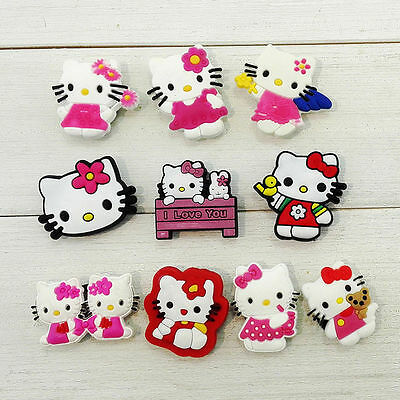 10 cute Hello Kitty jibbitz crocs wrist hair loom band shoe charms cake toppers